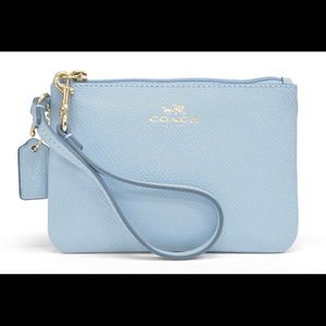 Coach wristlet baby blue- gorgeous. Used once.